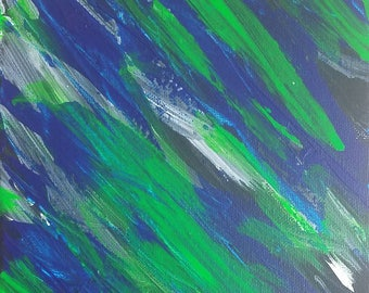"Green and Blue Original Abstract Acrylic Painting on Canvas ""Series 3 LXXV"" Wall Art, Home Decor, Interior Design, Modern Art, Contemporary"