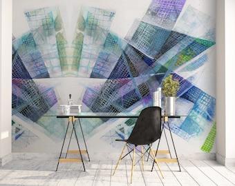 Abstract Art Wallpaper, Adhesive Mural, Large Art Mural, Wall Decal, Purple Wallpaper, Wall Decor, Abstract Wall Art, Cool Wallpaper. MS034