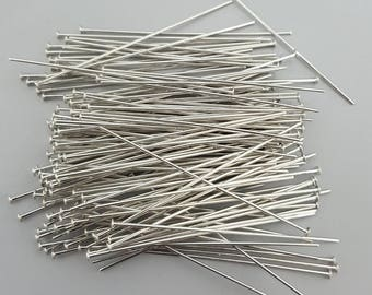 "Silver Plated 50mm (2"") Headpins, 20, 50 or 100"
