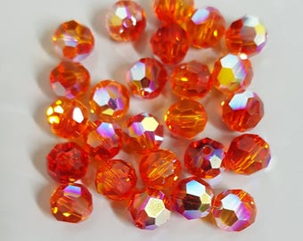 Swarovski 8mm Round 5000 Faceted Crystal Beads - FIRE OPAL AB - Select 6, 12 or 24 Beads