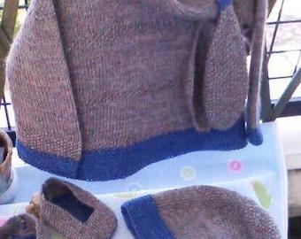 Ensemble bébé tricoté mains : brassière, bonnet, écharpe & chaussons, garçon 9 / 12 mois, laine alpaga et mohair, douce et chaude