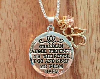 Guardian Angel Pendant with Prayer.