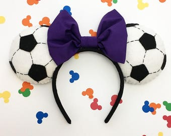 Soccer Ball Mickey Minnie Ears with Bow Sports Football Athlete