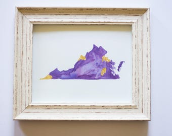 Virginia State Purple and Gold JMU Watercolor Art
