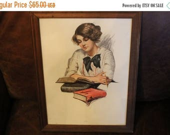Summer Sun Sale Antique Framed Picture Lithograph Titled Study of Victorian Lady Reading and Writing - Dated Christmas Gift 1915