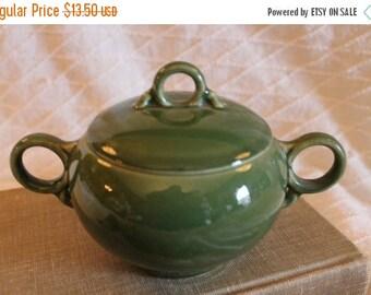 Summer Sun Sale Vintage Green Ceramic Sugar Bowl with Ring Handles