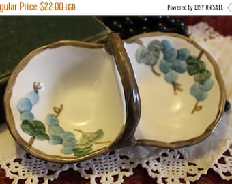 Christmas in July Vintage Porcelain Divider Basket Relish Tray - Two Compartment