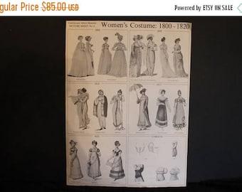 SALE Victoria and Albert Museum Picture Sheet No. 6 Women's Costume: 1800 -1820