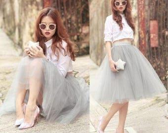 Light Grey Tulle Skirt, Tea Length Tulle Skirt, Women Tulle Skirt