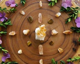 solar plexus, chakra crystal set , crystal set, crystal kit, crystal grid, crystal kit