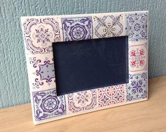Rustic frame | tile effect frame  | decoupaged frame | upcycled frame
