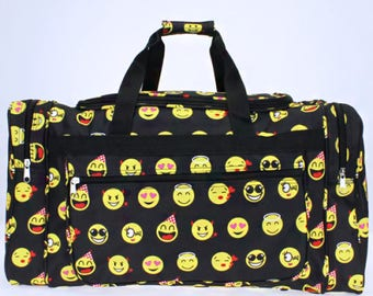"Black Emoji Icons 22"" Duffel Bag with Embroidery for summer camps, family trips, birthday gift, back to school, field trip"