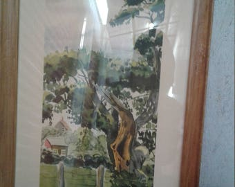 """Vintage Watercolor Titled """" Nature's Beauty """"/ Signed/ Houses/  Oak Tree/Fence"""