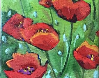 Poppies Painting - Original Oil Painting