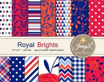 50% OFF Royal Blue Floral Digital Paper, Flower, Blossom, Navy Blue, Bright Red ranunculus Flower for Digital Scrapbooking, Invitations, Wed