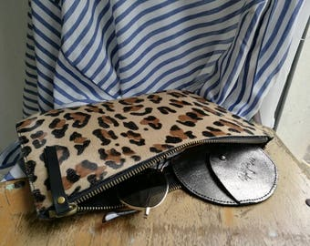 Large leopard style cowhide leather wallet. Leather with hair