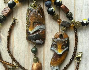 3D fox, Fox pendant, Bone jewelry, Fox necklace
