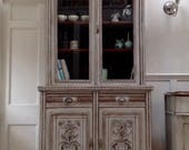 Antique Glazed Painted Bookcase Dresser Grey Kitchen Display Cabinet Unit