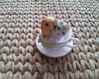 Vintage Bone China Napcoware Kitten and Puppy in a Teacup figurine