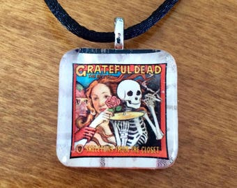 Grateful Dead Skeletons From The Closet Pendant /Grateful Dead Necklace/ Glass Pendant/Reclaimed, Upcycled , Repurposed,Recycled Pendant