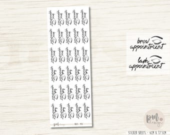 Brow or Lash Appointment Stickers - Hand Drawn Planner Stickers - HD05