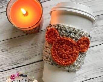 """The """"Fall Mickey"""" Cozie / Cozies / Coffee Cozie / Tea Cozie / Tumbler Cozie / Crochet Cozie"""