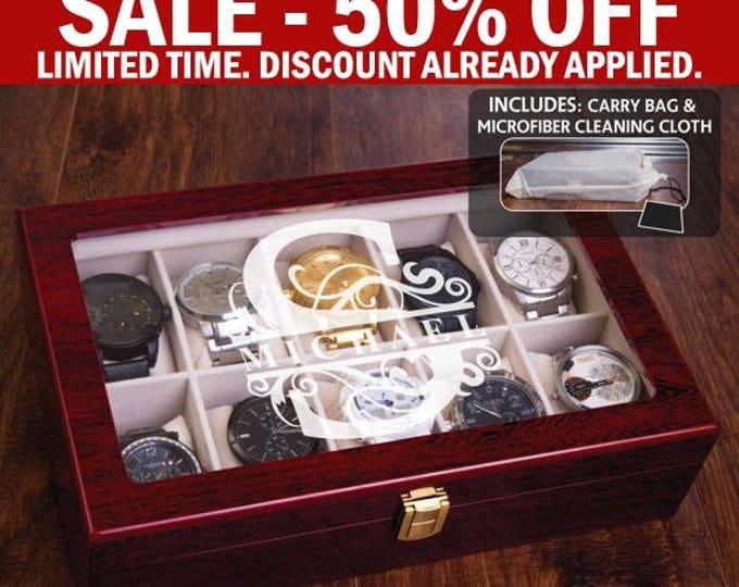 Luxury Watch Box, Man Watch Gift Set, Personalized Watch Case, Engraved WatchBox, Mahogany Finish, Groomsman Groomsmen Gift, Jewelry Box