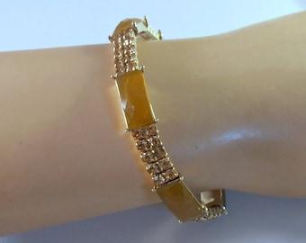 Monet Rhinestone Expansion Bracelet, Faux Butterscotch Amber