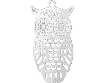 Large charm / pendant print fine OWL / OWL silver-plated 28x15mm