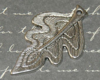 2 large charms leaf 23x38mm silver plated