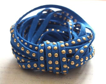 Royal Blue Suede Ribbon studded with golden coins