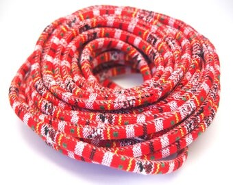 Ethnic woven red and multicolored cotton cord 6mm