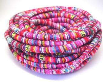Ethnic woven fuchsia pink and multicolored cotton cord 6mm
