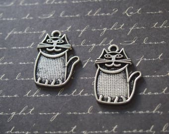 2 silver 28mm plump cat charms