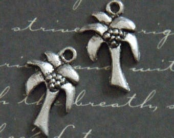 3 charms metal Palm tree silver 12 x 19, 5mm