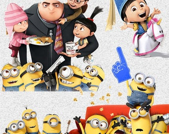 50 Despicable Me Minions Clip art 300dpi  -INSTANT DOWNLOAD FOR cards, scrapbooking,digital art, printing, birthdays, party decor,invitation