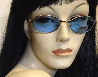 Vintage 90s sunglasses , blue lens , silver frame , free shipping !!