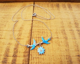 Vintage Bluebird Necklace  Enamel Sterling Silver , Vintage Swallow Love Birds Necklace Gifts For Her