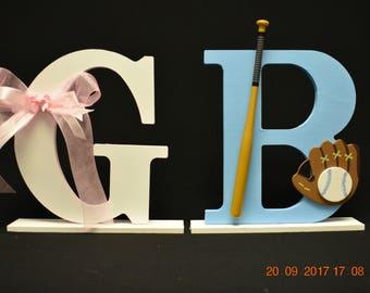 Baseball or Bows Gender Reveal Table Decoration, Cake Topper, Baby Boy/Girl