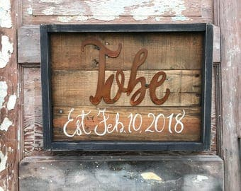 Rustic Wood Last Name Sign, Established Date, Rustic Sign, Metal Word Art, Anniversary Wedding Gift, Rustic Home Farmhouse Fixer Upper Decor