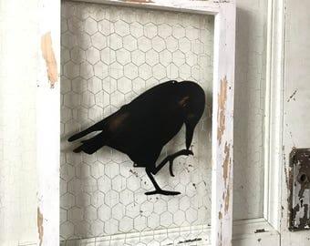 Chicken wire sign, Metal Raven, Metal Signs, Farmhouse Decor, Farmhouse Signs, Fixer Upper Style, Black Birds, Crow, Rustic Home Decor, Barn