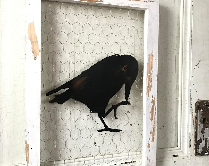 Chicken wire sign, Metal Raven, Metal Signs, Farmhouse Decor, Farmhouse Signs, Fixer Upper Style, Black Birds, Crow, Rustic Home Decor, Barn