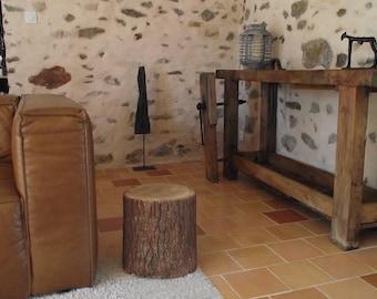 End table nightstand log wood stool