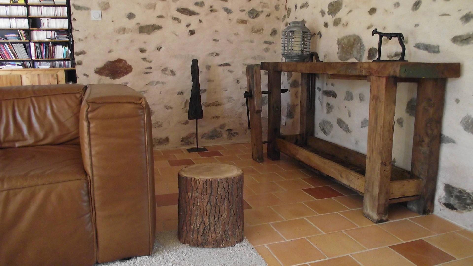 bout de canap rondin chevet en bois massif tabouret 29 cm. Black Bedroom Furniture Sets. Home Design Ideas