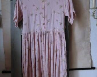 True vintage dress pink 80s 90s flowers floral print summer dress