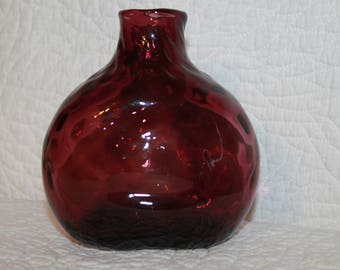 B6 Clevenger ? Brothers Honeycomb or Diamond Optic Quilted Flask Flower Bud Vase Home Decor Purple 1930 1940 ?