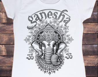 Womens T-Shirt Ganesh Elephant God Line Art Meditation India Zen Hobo Print TS967