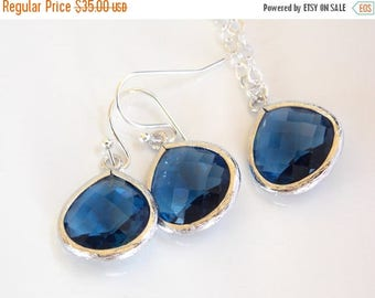 SALE Wedding Jewelry Set, Blue Earrings and Neklace, Sterling Silver, Navy Blue, Bridesmaid Jewelry, Bridesmaid Earrings, Bridesmaid Set, Gi