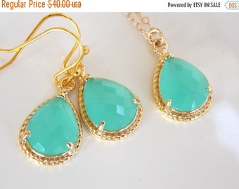SALE Bridesmaid Jewelry Set, Mint Earrings and Necklace Set, Aqua blue, Mint blue, Seafoam, Gold Filled, Wedding Jewelry, Dangle, Bridesmaid