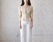Bianca blouse • vintage 1980s puff sleeve linen top • 80s tan lace peplum shirt